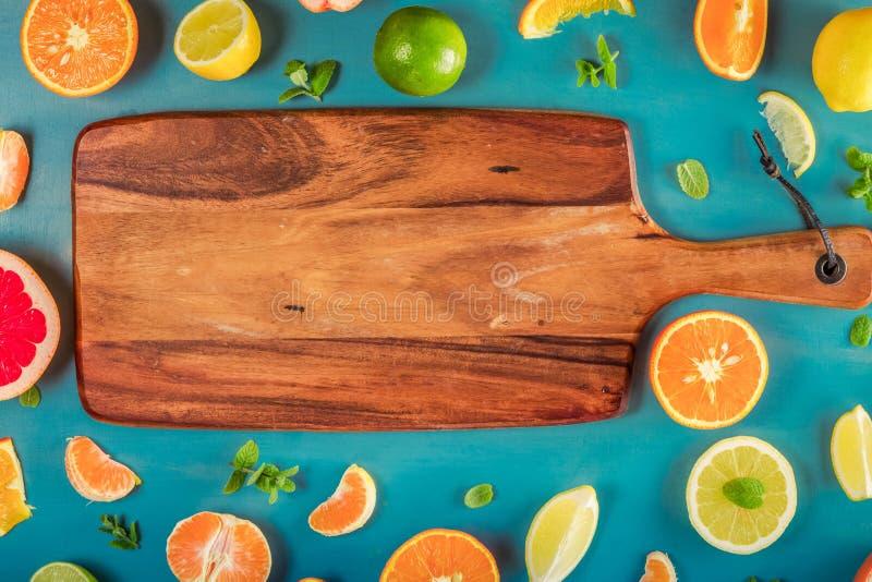 Citrus modell på blått royaltyfri foto