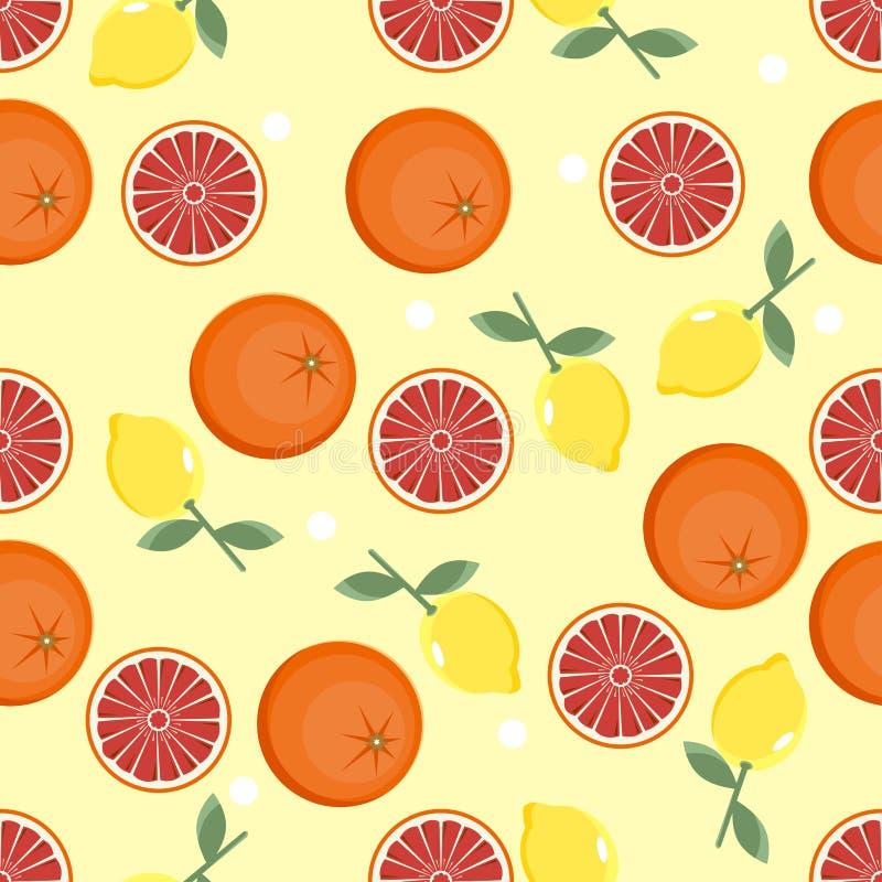 Citrus pattern. Fruit background. Summer bright background with lemon and orange. vector illustration