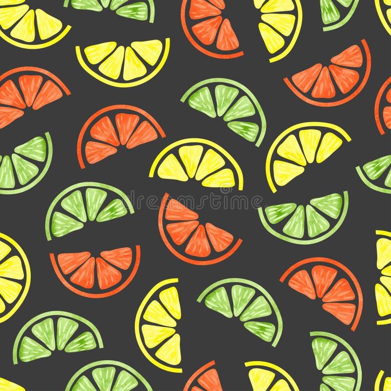 Citrus sömlös modell för vattenfärg stock illustrationer
