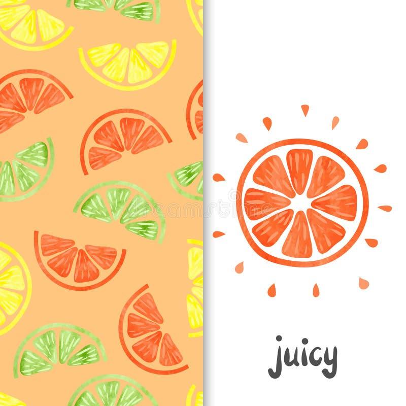 Citrus sömlös modell för vattenfärg Orange fruktskiva som isoleras på vit royaltyfri illustrationer