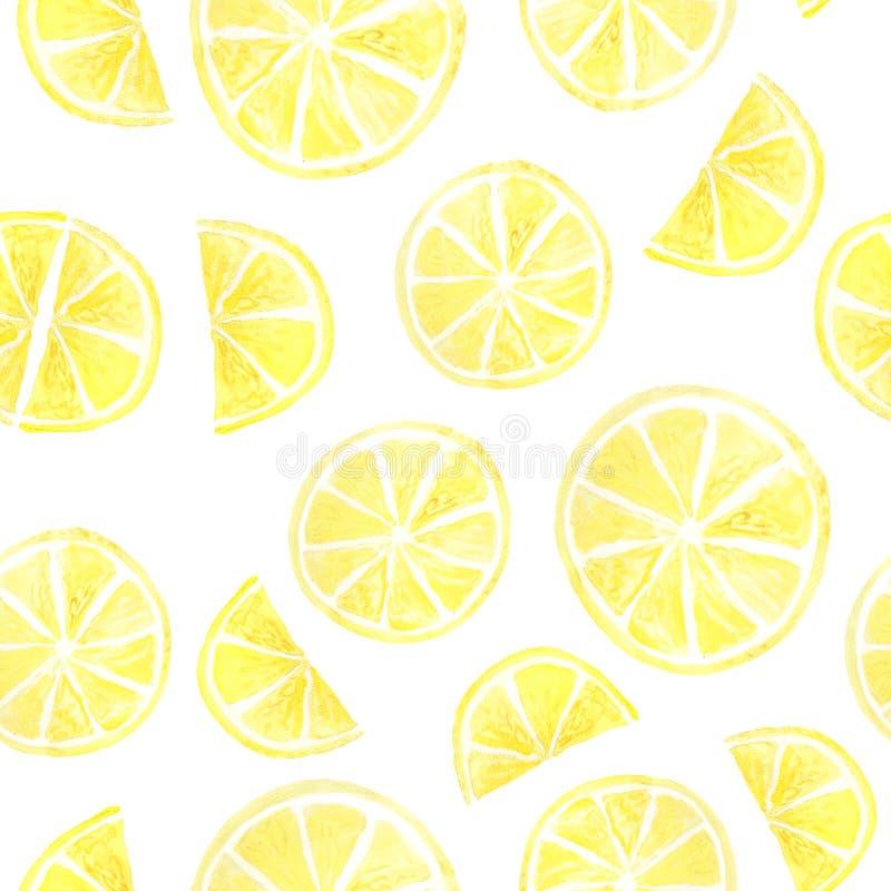 Citrus sömlös modell för vattenfärgsommar stock illustrationer