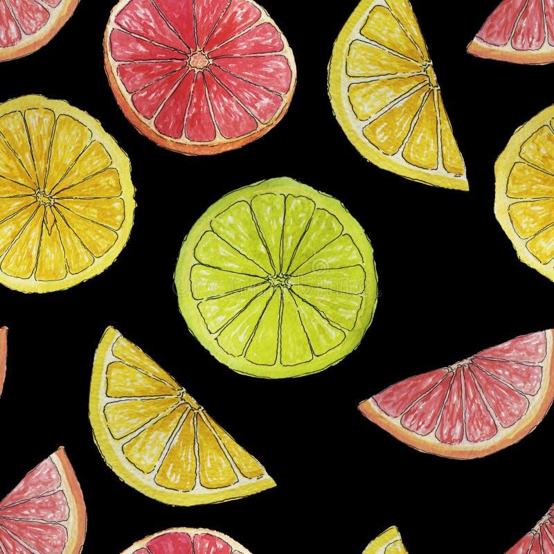 Citrus sömlös modell för vattenfärgsommar som isoleras på svart bakgrund stock illustrationer