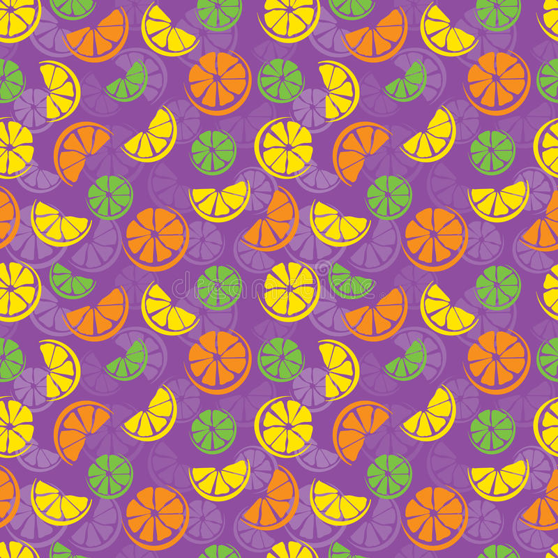 Citrus seamless pattern. Seamless colorful pattern of lime, lemon and orange slices royalty free illustration