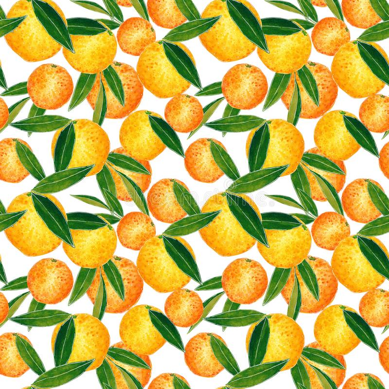 Citrus seamless pattern made of oranges. Hand drawn watercolor illustration. Citrus seamless pattern made of chaotic oranges and leaves, hand drawn botanical vector illustration