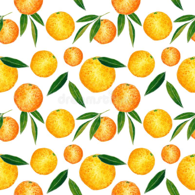 Citrus seamless pattern made of oranges and leaves. Hand drawn watercolor illustration. Citrus seamless pattern made of oranges and leaves, hand drawn botanical stock illustration