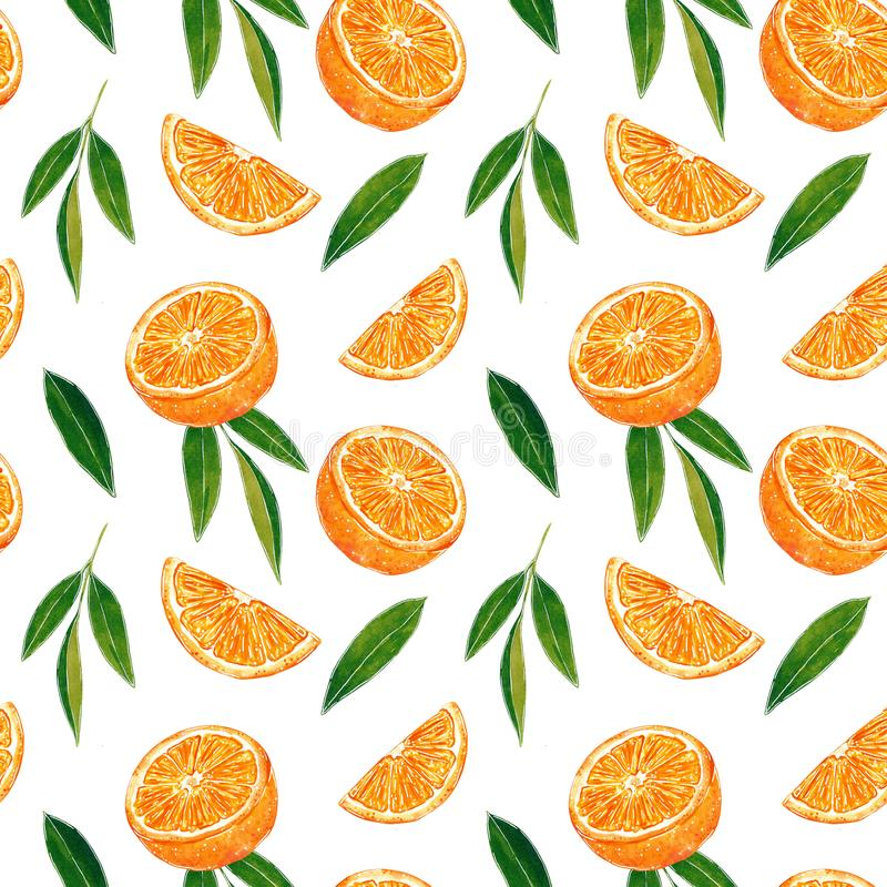Citrus seamless pattern made of oranges. Hand drawn watercolor illustration. Citrus seamless pattern made of oranges, slices and leaves, hand drawn botanical stock illustration