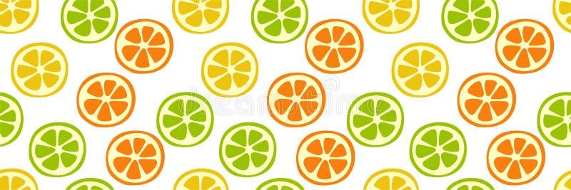 Citrus slice seamless pattern. Lemon, lime, orange and mandarin. Sweet exotic tropical fruits. Fashion design. Food print for vector illustration