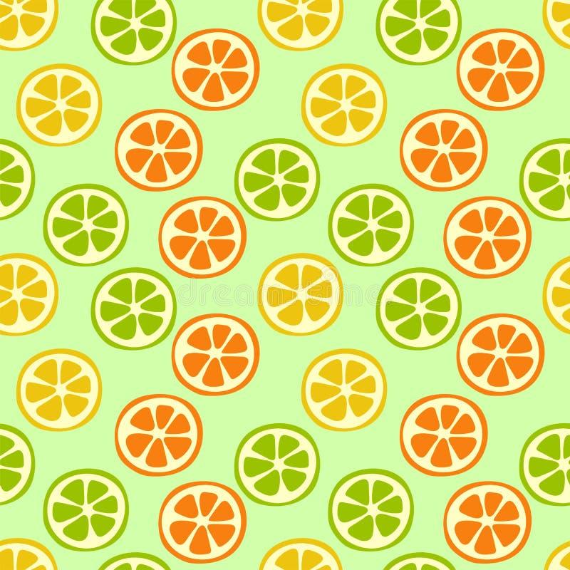 Citrus slice seamless pattern. Lemon, lime, orange and mandarin. Sweet exotic tropical fruits. Fashion design. Food print for stock illustration