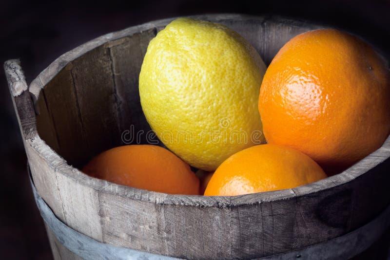 Citrusfrukt i en trähink arkivbilder