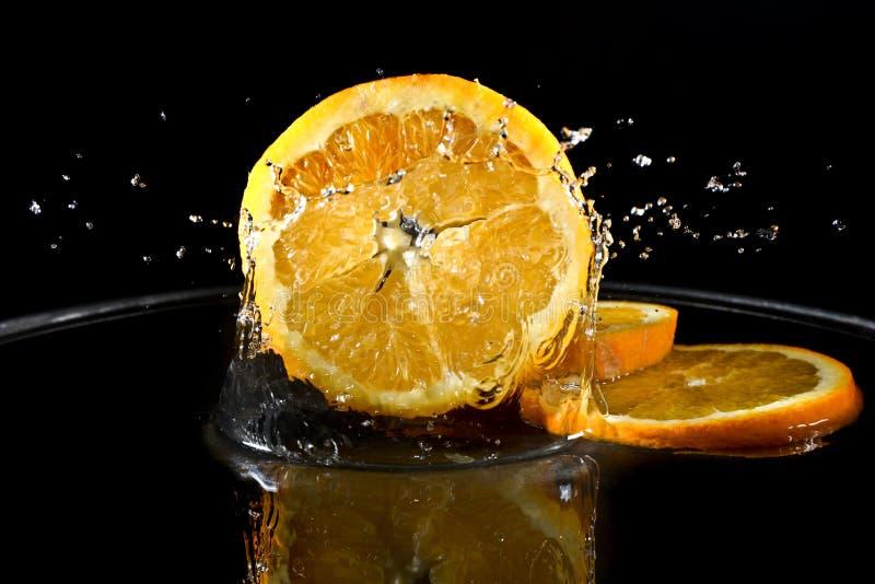 Citrusfrukter i vatten royaltyfri foto