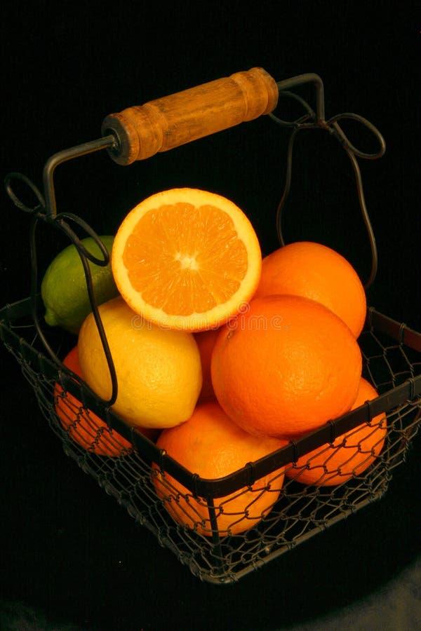 Citrusfruktkorg arkivfoton