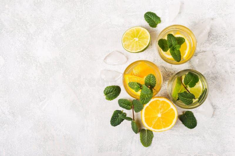 Citrusvruchten detox dranken of cocktails met munt en plakken van fruit royalty-vrije stock afbeeldingen