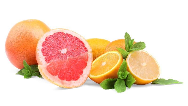 Citrusvruchten en muntbladeren op een witte achtergrond Verschillende exotische vruchten: grapefruit, sinaasappel, en citroen Vit royalty-vrije stock afbeeldingen