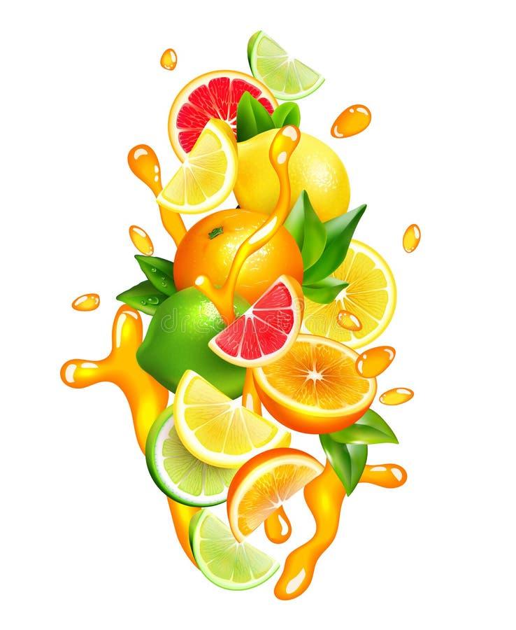 Citrusvruchten Juice Drops Colorful Composition royalty-vrije illustratie