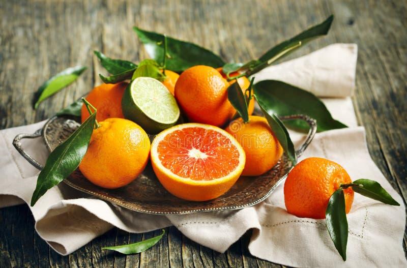Citrusvruchten met bladeren royalty-vrije stock foto's
