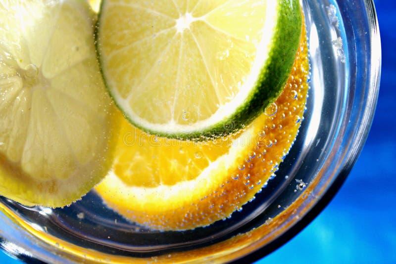 Citrusvruchten van - plakkensinaasappel, citroen, lyme in water met een bubles-verfrissende drank van de de zomervitamine royalty-vrije stock afbeelding