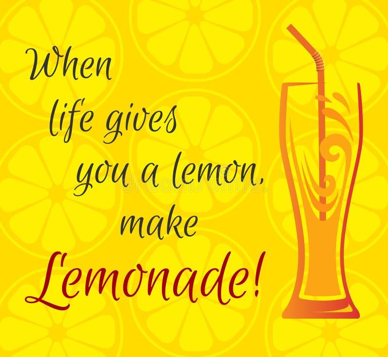 Citrusvruchtenachtergrond, een glas limonade royalty-vrije illustratie