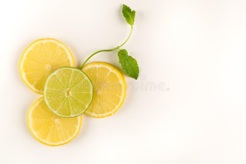 Citrusvruchtenbloem van citrusvruchten, citroen, kalk en munt wordt gemaakt die De creatieve concepten van de voedselkunst royalty-vrije stock foto's