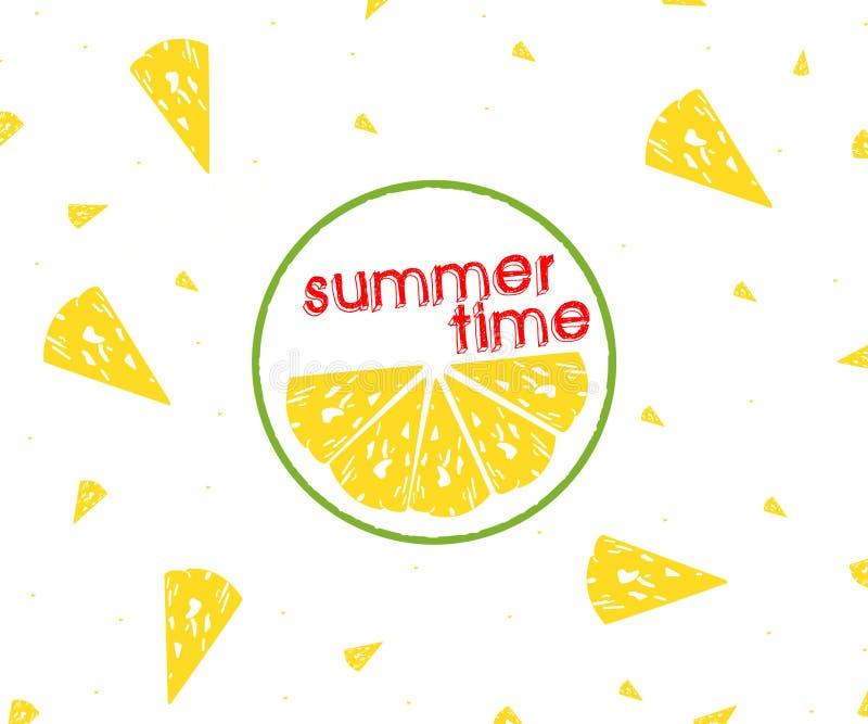 Citrusvruchtenplakken van citroen, de zomertijd van de Citroenplak op witte achtergrond, vector illustratie