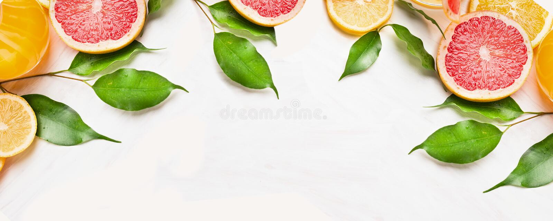 Citrusvruchtenplakken van sinaasappel, citroen en grapefruit met groene bladeren, banner voor website stock foto's