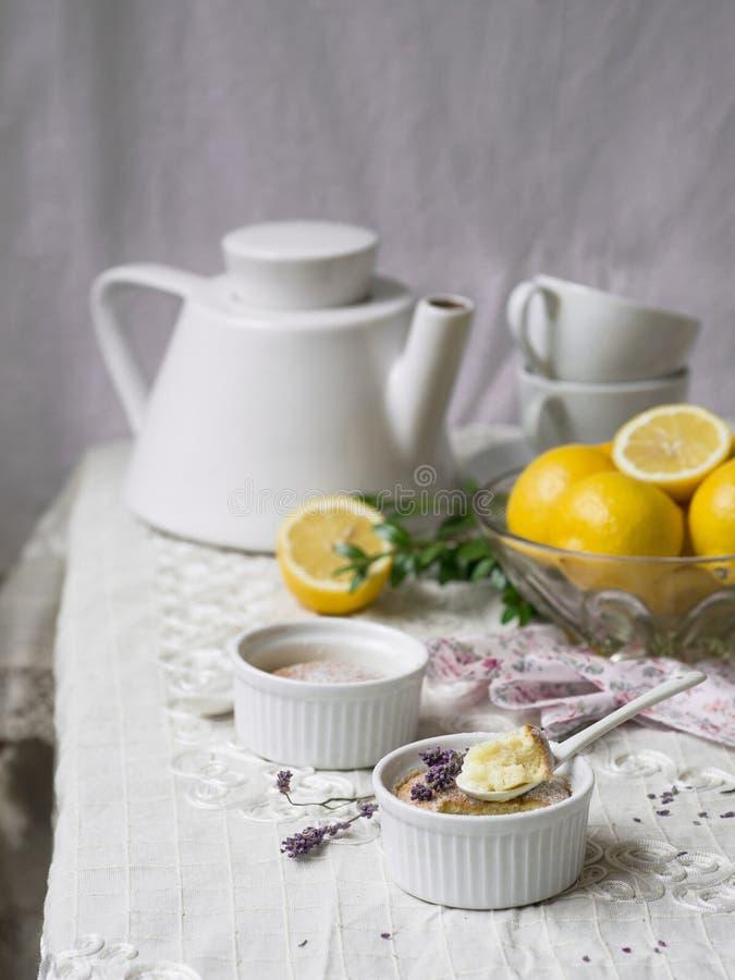 Citrusvruchtenpudding met lavendel royalty-vrije stock afbeelding