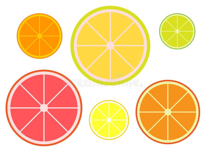 Set of slices of citruses tangerine, pomelo, lime, grapefruit, lemon, orange. Vector flat illustration isolated on white background stock illustration