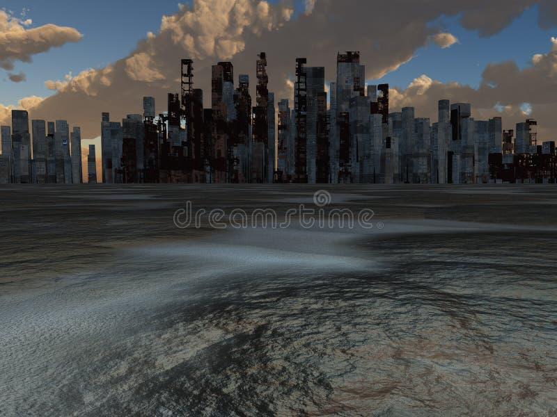 Città abbandonata illustrazione vettoriale