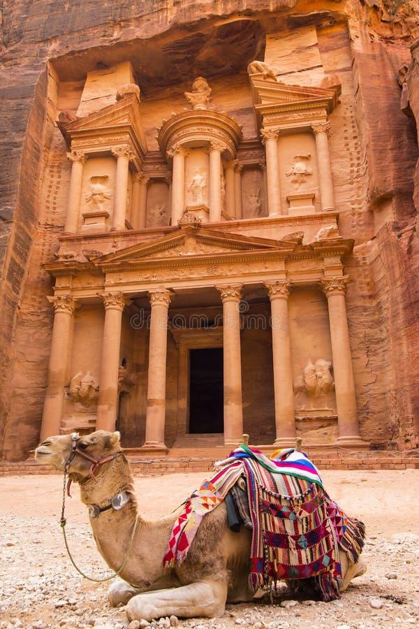 Città abbandonata antica della roccia di PETRA in Giordania immagini stock