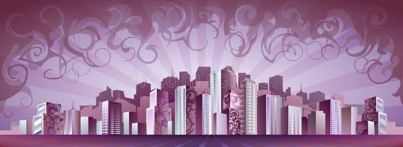 Città acida della nebbia illustrazione di stock