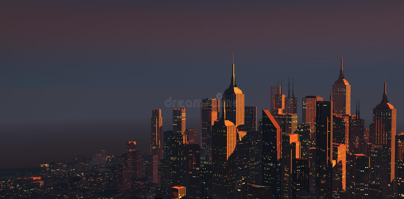 Città al crepuscolo fotografie stock