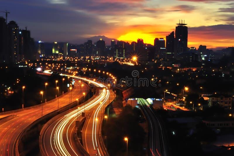 Città al tramonto fotografia stock libera da diritti