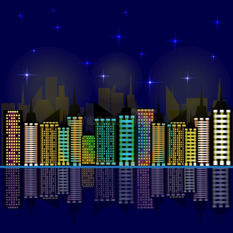 Città alla notte I grattacieli hanno riflesso nell'acqua Illustrazione di vettore illustrazione vettoriale