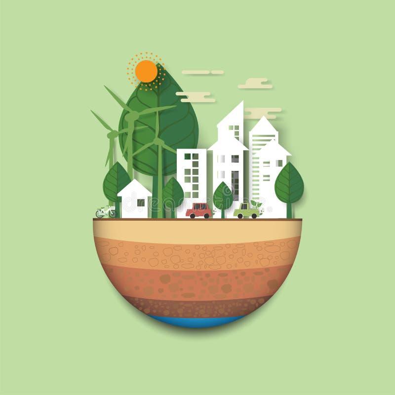 Città amichevole di eco verde della natura e parte posteriore urbana dell'estratto del paesaggio illustrazione di stock