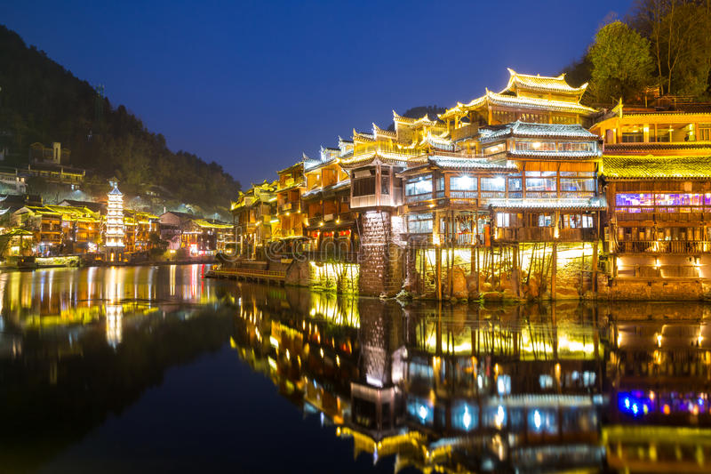 Città antica Cina di Fenghuang fotografie stock