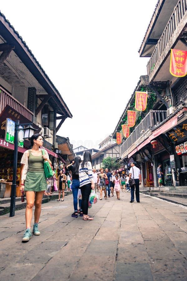 Città antica degli shophouses di Ciqikou a Chongqing, Cina immagini stock