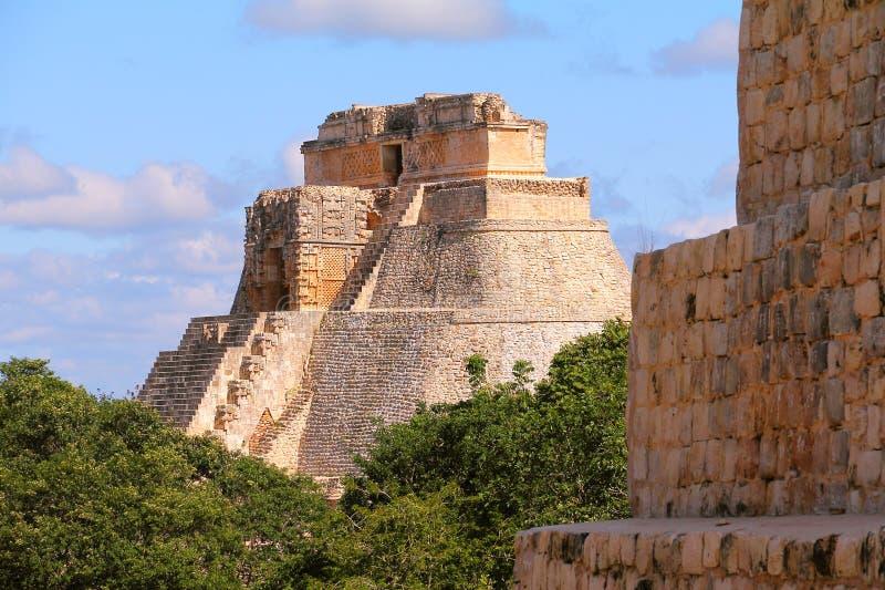 Città antica di maya di Uxmal VI fotografie stock libere da diritti