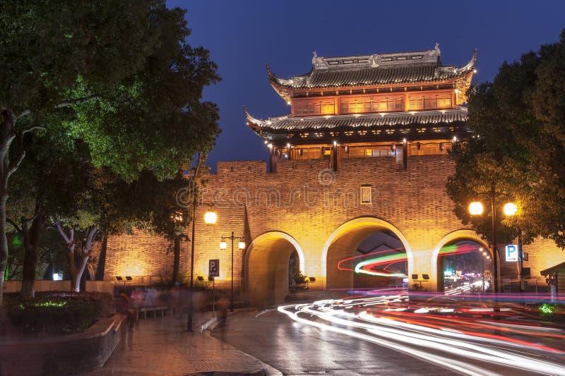Città antica di Suzhou alla notte fotografia stock libera da diritti