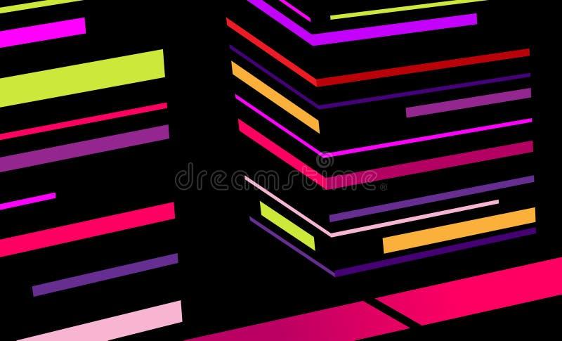 Città astratta con le bande colorate. illustrazione di stock