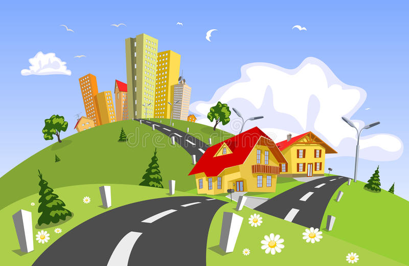 Città astratta - estate illustrazione vettoriale