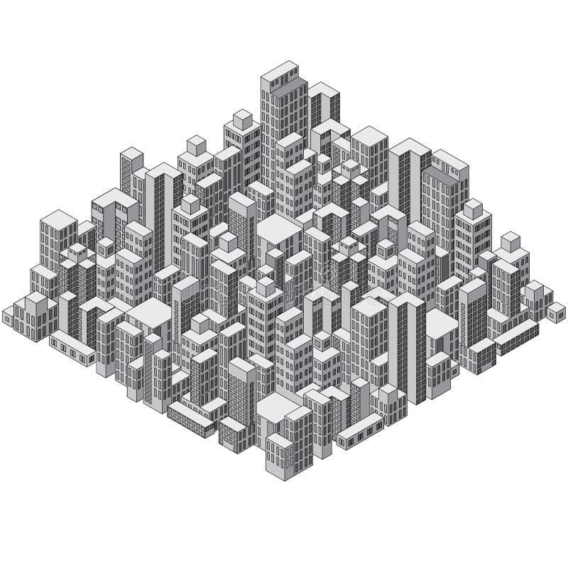 Città astratta isometrica Ready per il vostro disegno royalty illustrazione gratis