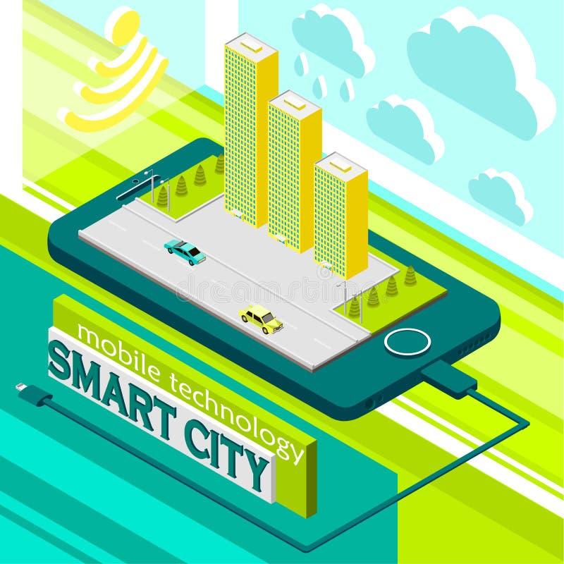 città astuta di tecnologia mobile illustrazione vettoriale