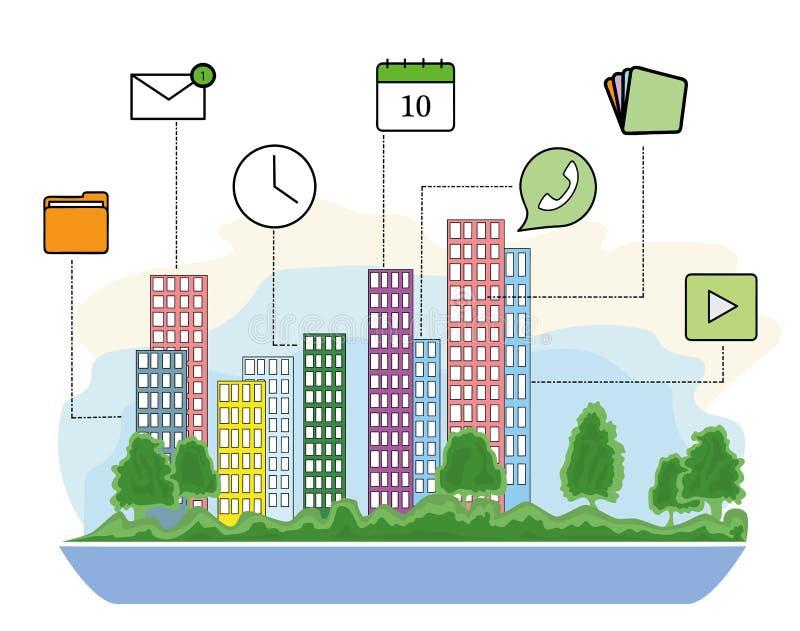 Città astuta e rete di comunicazione senza fili Progettazione moderna della città con tecnologia futura per vivere Spirito astuto royalty illustrazione gratis