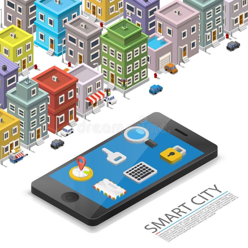 Città astuta isometrica, segno del dispositivo di app, oggetto su un fondo bianco, illustrazione di vettore illustrazione vettoriale