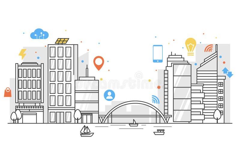 Città astuta in linea arte con le icone del colorfull Concetto di Internet delle cose e delle altre tecnologie future per la gent illustrazione di stock