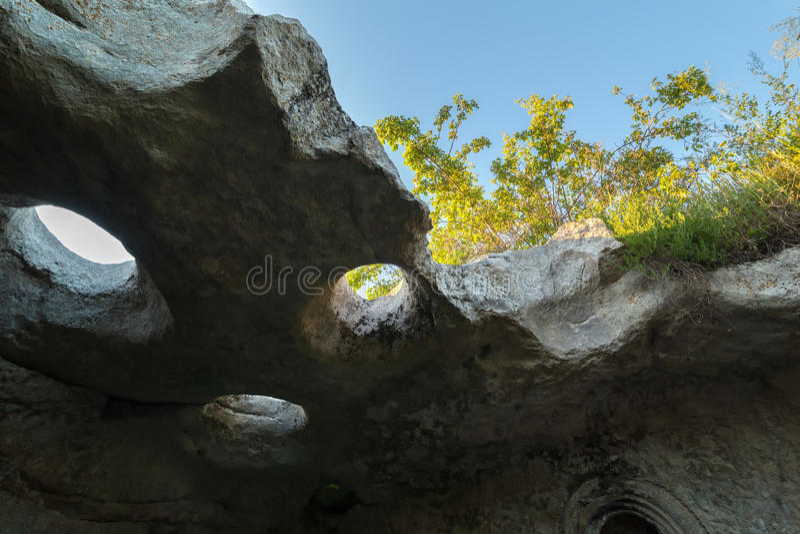 Città Bakla della caverna in Bakhchysarai Raion, Crimea immagini stock libere da diritti