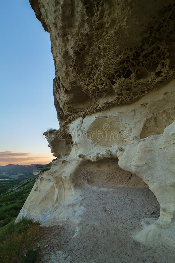 Città Bakla della caverna in Bakhchysarai Raion, Crimea fotografia stock