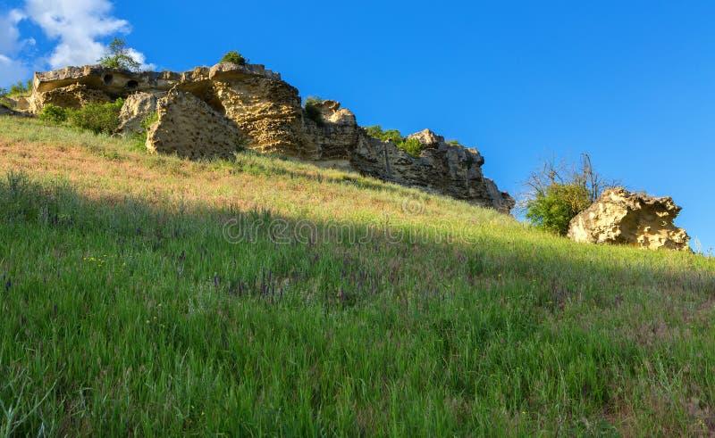 Città Bakla della caverna in Bakhchysarai Raion, Crimea fotografie stock libere da diritti