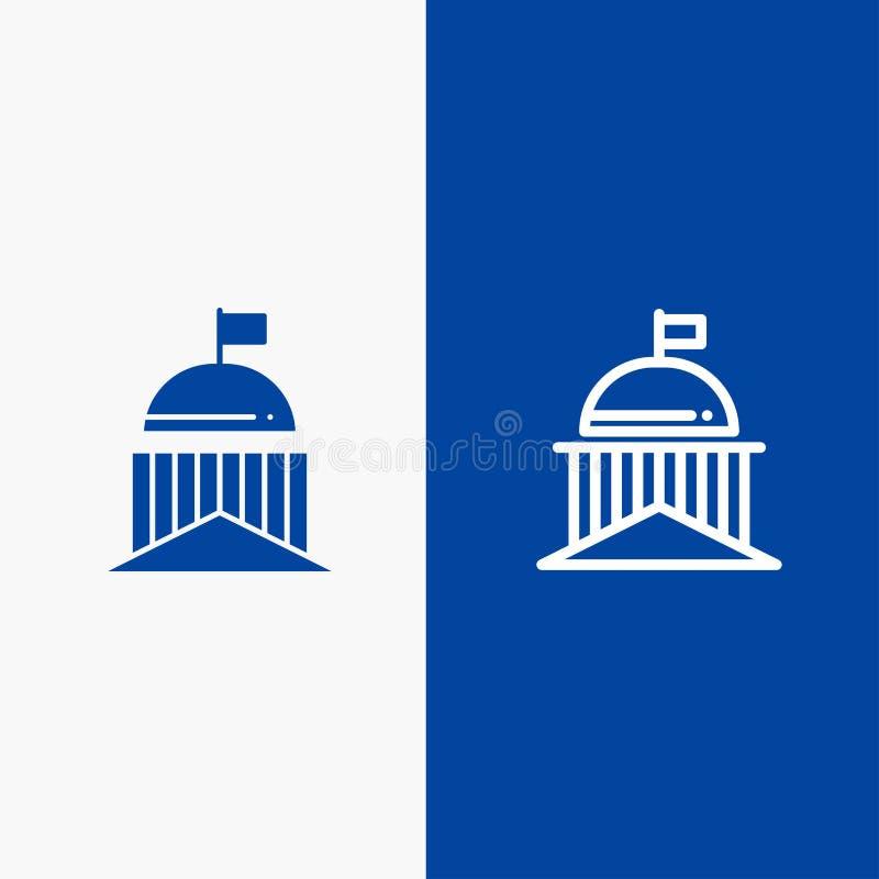 Città, bandiera, verde, l'Irlanda, insegna blu di insegna dell'icona solida irlandese di glifo e della linea dell'icona solida bl illustrazione di stock