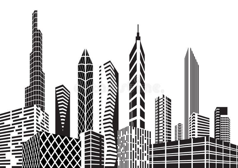 Città in bianco e nero royalty illustrazione gratis