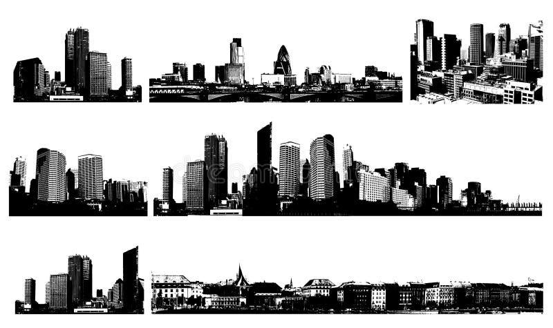 Città in bianco e nero di panorama. illustrazione di stock